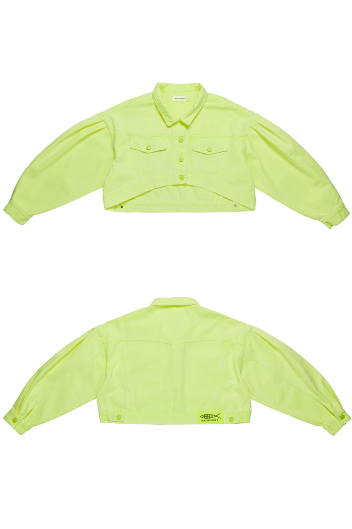 Crop Garment Dyeing Jacket_Lime