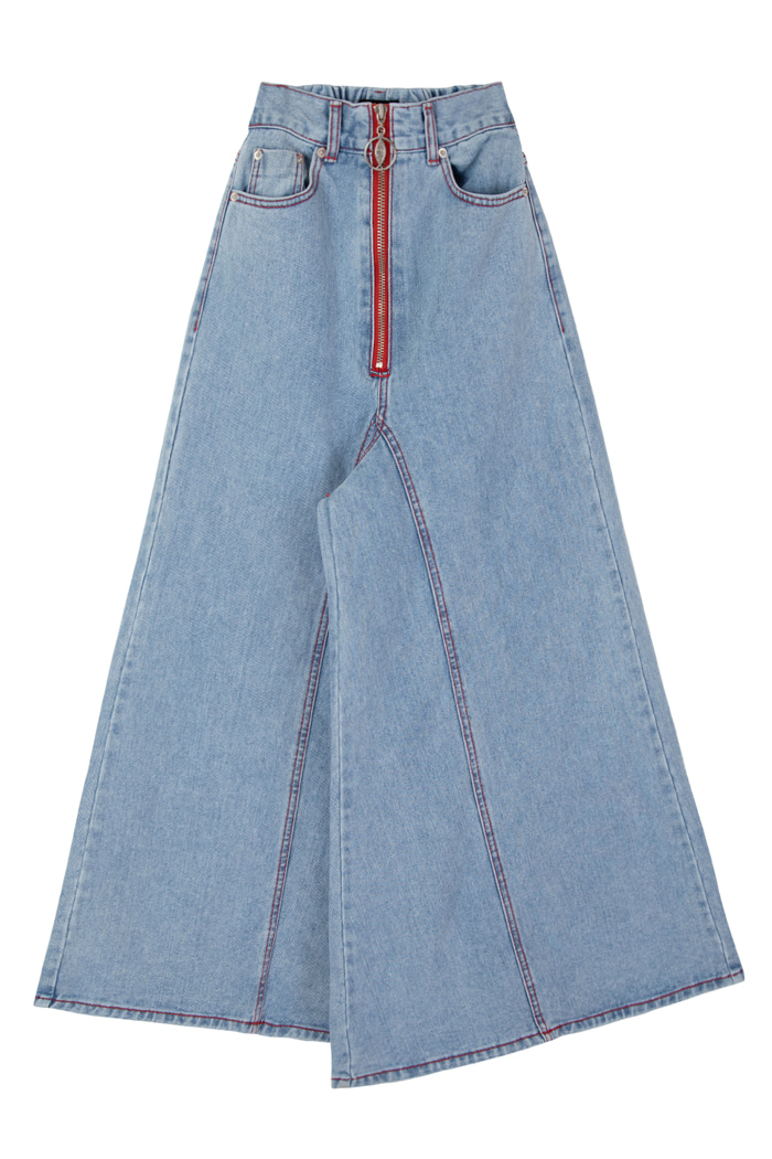 HIGH WAISTED ZIPPER LONG WIDE DENIM_ICE BLUE